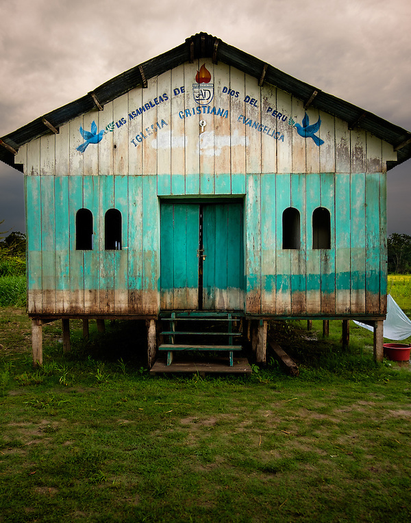 LORETO, PERU - CIRCA OCTOBER 2015: Abandoned church around the Yarapa river. Village of Puerto Miguel in the Peruvian Amazon. (Daniel Korzeniewski)