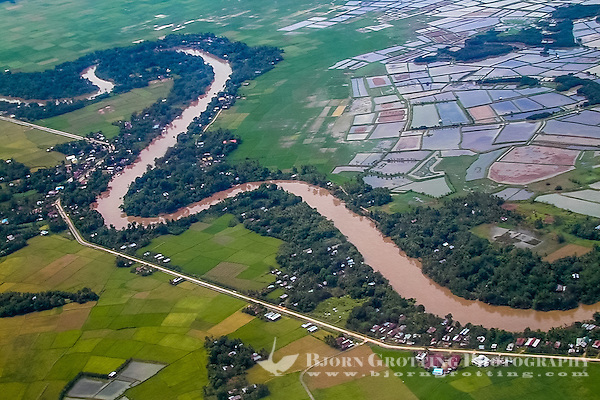 Indonesia, Sulawesi, Makassar. A river close to Makassar's airport, seen from airplane. (Photo Bjorn Grotting)