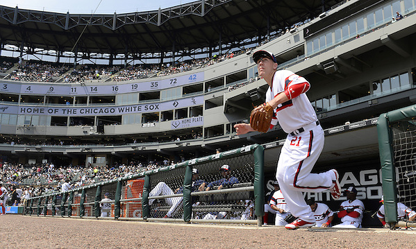 CHICAGO - APRIL 24: Todd Frazier #21 of the Chicago White Sox runs onto the field prior to the game against the Texas Rangers on April 24, 2016 at U.S. Cellular Field in Chicago, Illinois. The White Sox defeated the Rangers 4-1. (Photo by Ron Vesely) Subject: Todd Frazier (Ron Vesely)