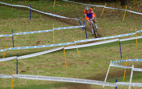 03 NOV 2012 - IPSWICH, GBR - Mathieu van der Poel (NED) of the Netherlands makes his way round the course during the Junior Men&#039;s European Cyclo-Cross Championships in Chantry Park, Ipswich, Suffolk, Great Britain (PHOTO (C) 2012 NIGEL FARROW) (NIGEL FARROW/(C) 2012 NIGEL FARROW)