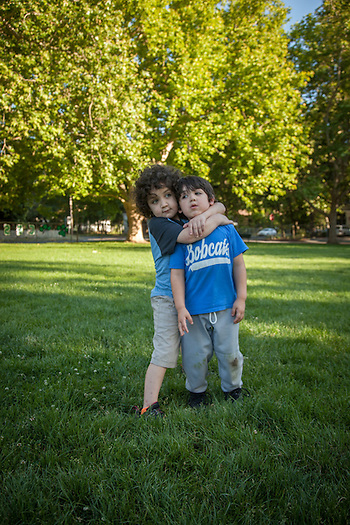 More than brothers, four year old Ivan donated bone marrow for his six year old brother, Marlon, one year ago. Marlon's lukemia has been in remission since. Marlon was at Calistoga Elementary School to watch his brother's last T-ball game of the season . (Clark James Mishler)