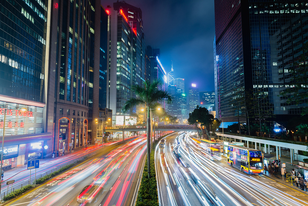 Traffic light trails at night in Central, Hong Kong (Mark Eden)