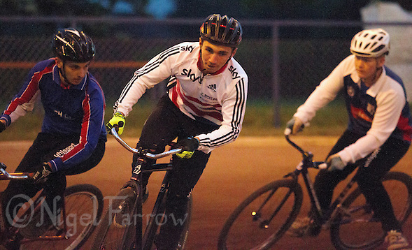 26 MAY 2015 - IPSWICH, GBR - Ashley Hill (centre) leads Ben Harvey (left) and Fraser Harris (right) during an Ipswich Cycle Speedway Club championship night at Whitton Sports and Community Centre in Ipswich, Suffolk, Great Britain (PHOTO COPYRIGHT © 2015 NIGEL FARROW, ALL RIGHTS RESERVED) (NIGEL FARROW/COPYRIGHT © 2015 NIGEL FARROW : www.nigelfarrow.com)
