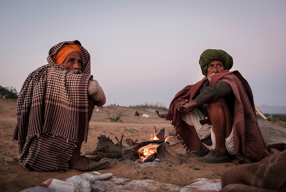PUSHKAR, INDIA - CIRCA NOVEMBER 2016: Camel herders by a fire pit early morning in the Pushkar Camel Fair grounds. It is one of the world's largest camel fairs. Apart from the buying and selling of livestock, it has become an important tourist attraction. (Daniel Korzeniewski)