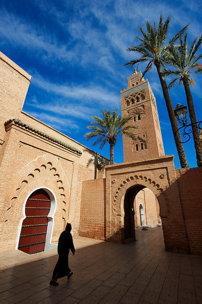 The Koutoubia Mosque completed 1199 with a square Berber minaret, Marrakesh, Morroco (Paul E Williams)