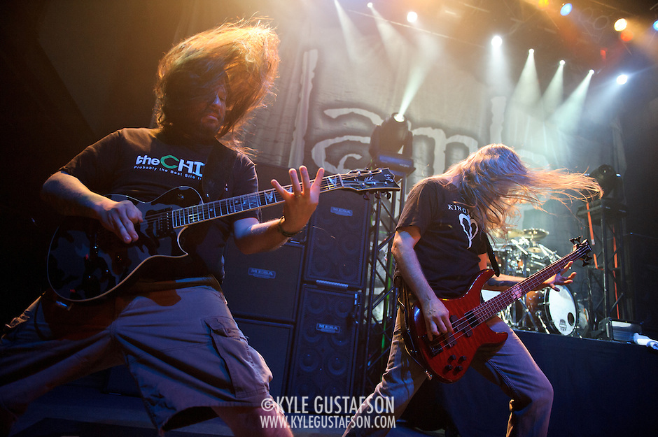 WASHINGTON, DC - January 23rd, 2012 - Willie Adler and John Campbell of the Richmond, VA-based heavy metal band Lamb of God perform at the 9:30 Club in Washington, D.C. The band released their seventh studio album, Resolution, earlier in the week. (Photo by Kyle Gustafson/For The Washington Post) (Kyle Gustafson/FTWP)