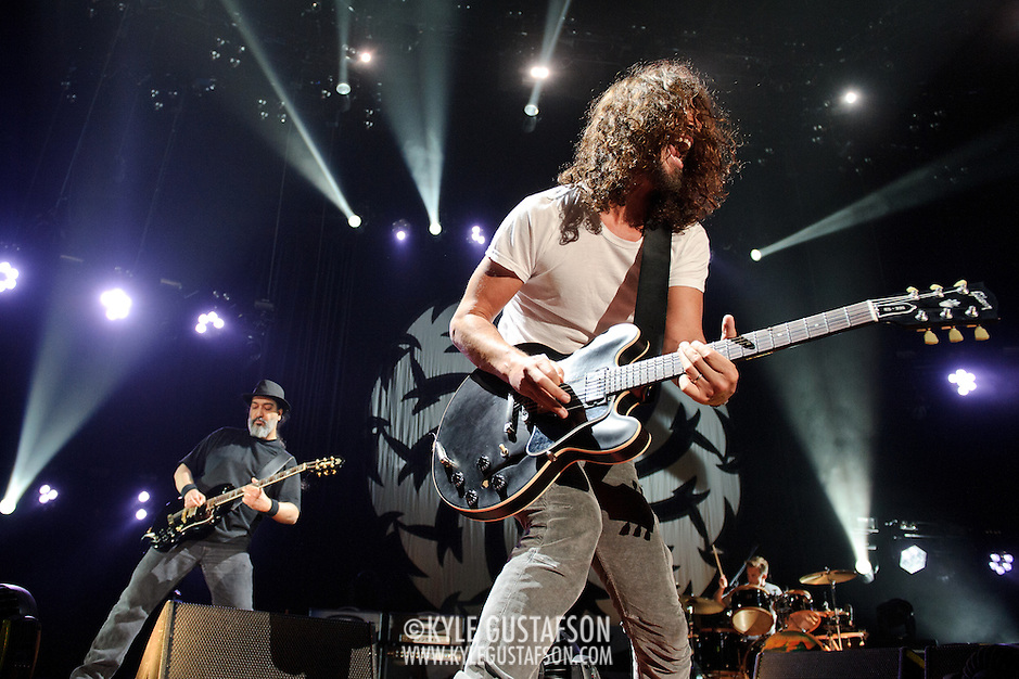 FAIRFAX, VA - July 12th, 2011 - Kim Thayil, Chris Cornell and Matt Cameron of reunited grunge heavyweights Soundgarden perform at the Patriot Center in Fairfax, VA. The band reunited last year after a 12 year break and are currently writing new material for an album to be released in 2012.  (Photo by Kyle Gustafson/For The Washington Post) (Photo by Kyle Gustafson / For The Washington Post)
