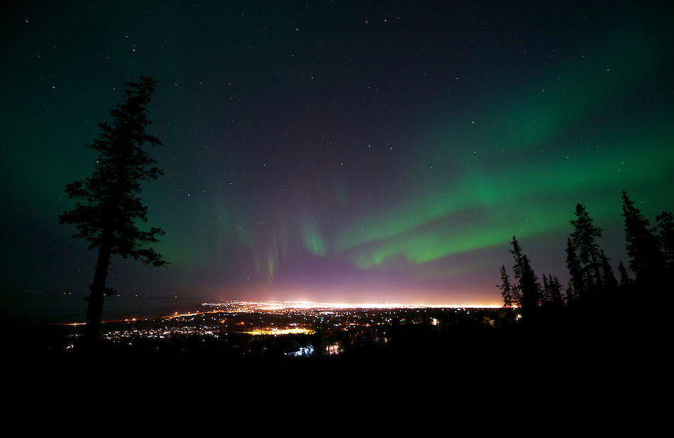 October 12, 2012 Aurora Borealis (or Northern Lights) viewed from Prominence Point, Anchorage, Alaska, United States. (Ron Karpilo)
