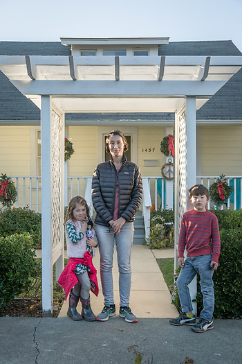 """We just finished our 3 PM tea and fikas (Swedish cookies)  and we are out to walk them off.""  -Molly Bjorkman with her kids Maja (4) and Andreas (7), on Third Street in Calistoga (Clark James Mishler)"