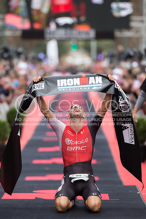 Dirk Bockel (LUX), March 23, 2014 - Ironman Triathlon : Ironman Melbourne Race, Run Course Run Course Race Finish, St Kilda, Melbourne, Victoria, Australia. Credit: Lucas Wroe (Lucas Wroe)