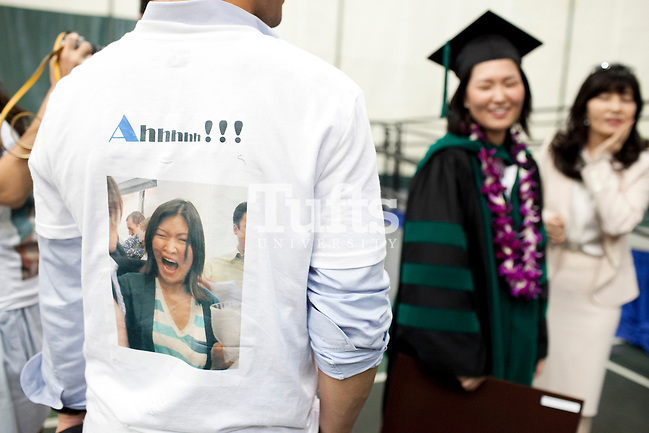 05/22/2011- Medford, Mass. - Jina Lee Sinskey's, M11, fan club of friends and family came dressed in custom t-shirts for commencement for the Tufts University School of Medicine on May 22, 2011. (Kelvin Ma/Tufts University) (Kelvin Ma/Tufts University)