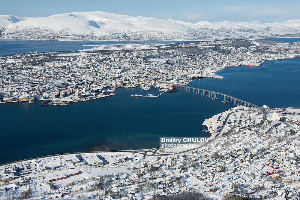 Aerial view to the city of Tromso, 350 kilometers north of the Arctic Circle, Norway. (Dmitry Chulov)