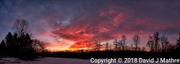 Dawn Morning Clouds. Winter Backyard Nature in New Jersey. Composite of 10 images taken with a Fuji X-T1 camera and 16 mm f/1.4 lens (ISO 200, 16 mm, f/5.6, 1/60 sec). Raw images processed with Capture One Pro and the composite generated with AutoPano Giga Pro. (David J Mathre)
