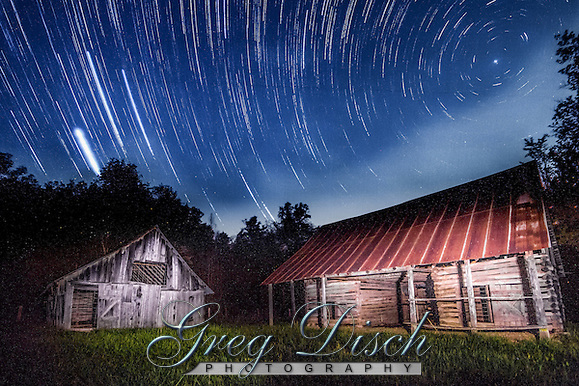 Star trails over the Parker-Hickman farmstead on the Buffalo National River. (Greg Disch gdisch@gregdisch.com)