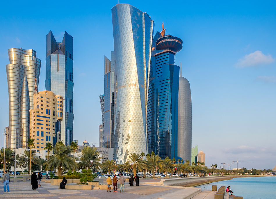 DOHA, QATAR - CIRCA DECEMBER 2013: View of the Al Corniche Promenade and street with skyline in Doha (Daniel Korzeniewski)