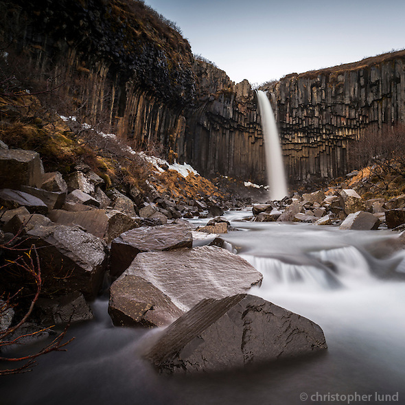 Svartifoss (Black Fall) waterfall in Skaftafell National Park in Iceland. The fall is surrounded by dark lava columns of Basalt, which gave rise to its name. (Christopher Lund/©2013 Christopher Lund)