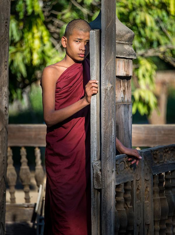 BAGAN, MYANMAR - CIRCA DECEMBER 2013: Young monk in the village of Shwe Kun Cha Hpaya close to Bagan in Myanmar. (Daniel Korzeniewski)