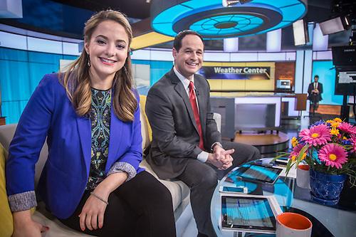 Megan Mazurek and James Gaddis host Daybreak on KTVA, Channel 11, Anchorage  mmazurek@ktva.com (© Clark James Mishler)