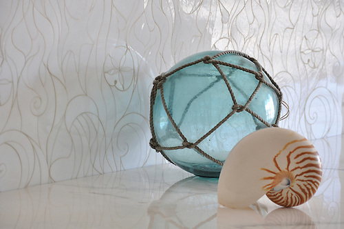 Octopus's Garden backsplash in glass Moonstone (New Ravenna Mosaics 2010)