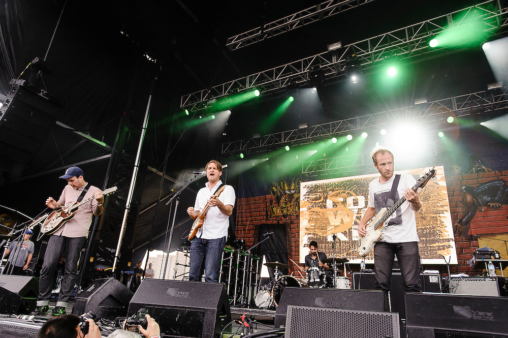 Photos of the band Cold War Kids performing at Catalpa Music Festival on Randall's Island, NYC. July 29, 2012. Copyright © 2012 Matthew Eisman. All Rights Reserved. (Photo by Matthew Eisman/ Getty Images)