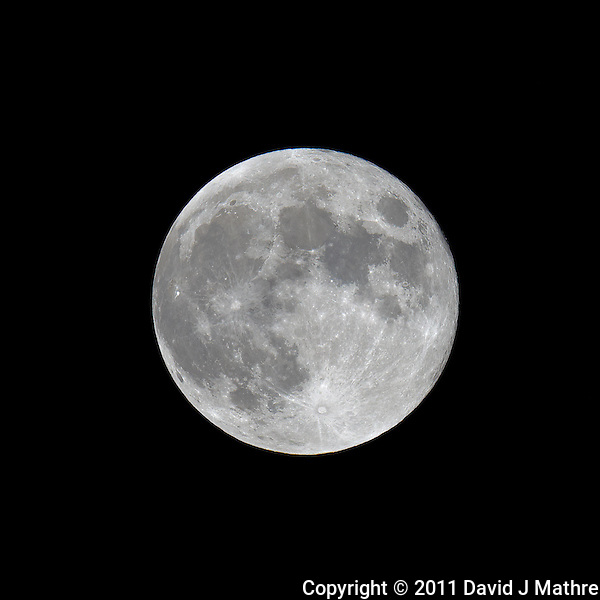 Late Spring Full Moon over New Jersey. Image taken with a Nikon D3x and 600 mm f/4 VR lens (ISO 100, 600 mm, f/8, 1/100 sec) on a Gitzo tripod and Wimberley Head. Raw image processed with Capture One Pro, Focus Magic, and Photoshop CS5 (David J Mathre)