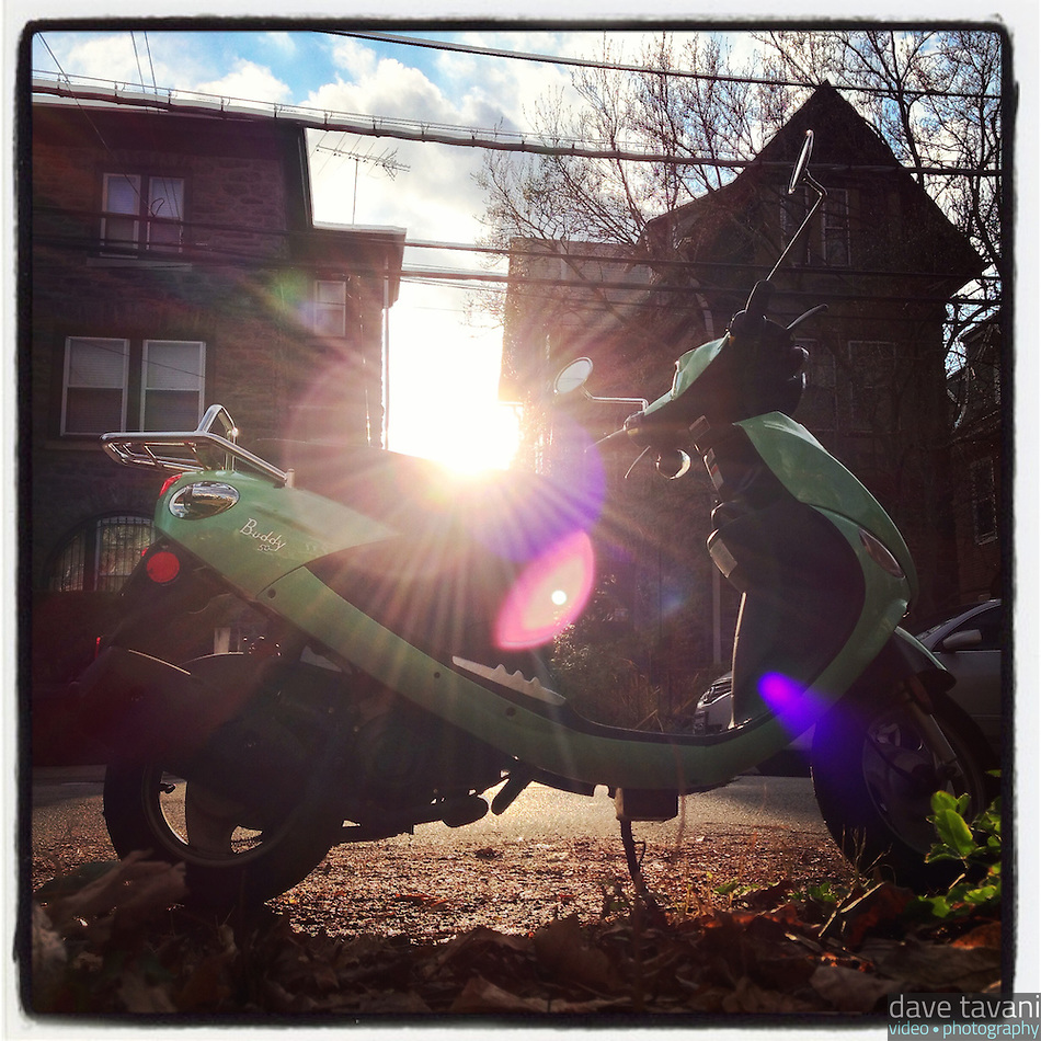 My scooter sits in the sun on Morris Street in the Germantown section of Philadelphia, December 11, 2012. (Dave Tavani)