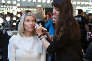 Kristen Taekman back stage at Nolcha by Fashion Week New York event photographer Jeffrey Holmes
