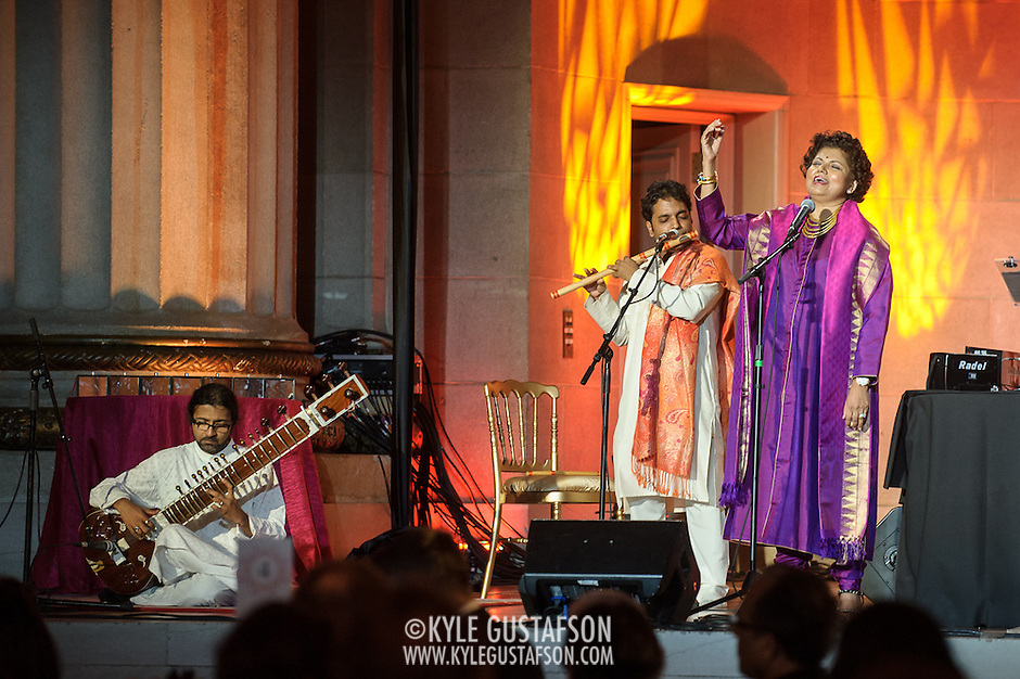 "WASHINGTON, DC - October 17th, 2013 - Chandrika Tandon performs at the ""Some Enchanted Evening"" gala at at the Andrew W. Mellon Auditorium. The gala is a celebration for  ""Yoga: The Art of Transformation,"" the world's first exhibition on the art of yoga at the Arthur M. Sackler Gallery. (Photo by Kyle Gustafson) (Kyle Gustafson/Photo by Kyle Gustafson)"