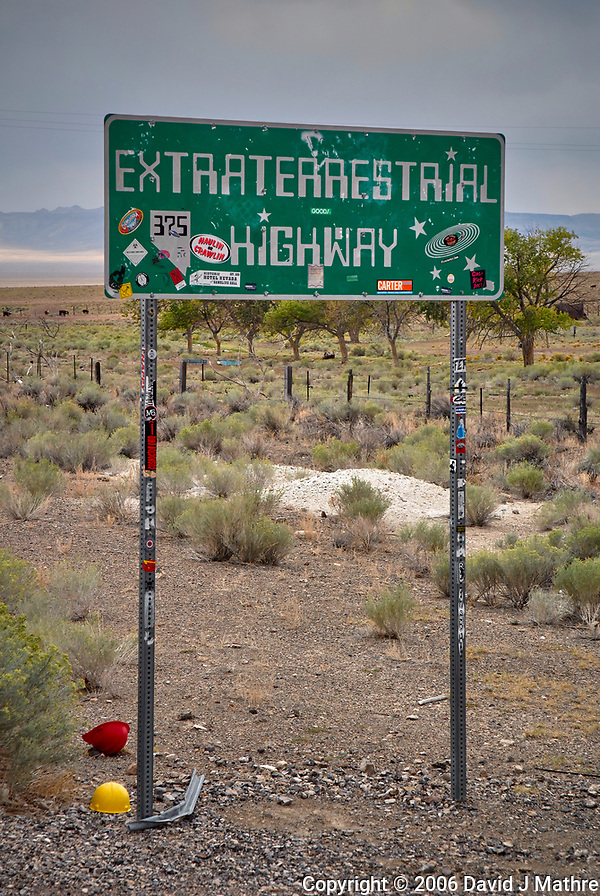 Extraterrestrial Highway Sign. Somewhere near Area 51 in Nevada. Image taken with a Nikon D200 camera and 18-70 mm kit lens (ISO 400, 625 mm, f/7.1, 1/180 sec). (David J Mathre)