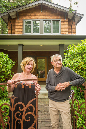 """I love Calistoga but Anne thinks it's a little slow...that's why we have a place in the city.""  -John and Anne Wack stand in front of their home on Washington Street. (Clark James Mishler)"