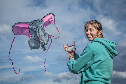Amy Clark with her Dumbo kite at the west end of Delaney Park Strip, Anchorage  chase1life@aol.com (Clark James Mishler)