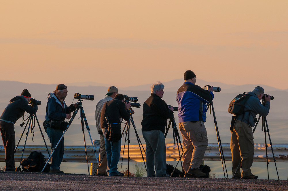 Photography workshop participants on Steptoe Butte at sunrise, Palouse wheat country, Washington. (Greg Vaughn/© Greg Vaughn)