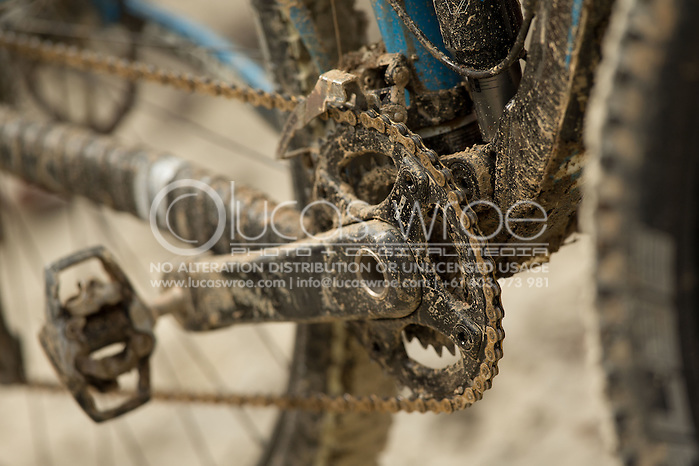 Dirty bikes after the race, June 1, 2014 - MOUNTAIN BIKE : RRR Mountain Bike Challenge, Cairns Airport Adventure Festival, Four Mile Beach, Port Douglas, Queensland, Australia. Credit: Lucas Wroe (Lucas Wroe)