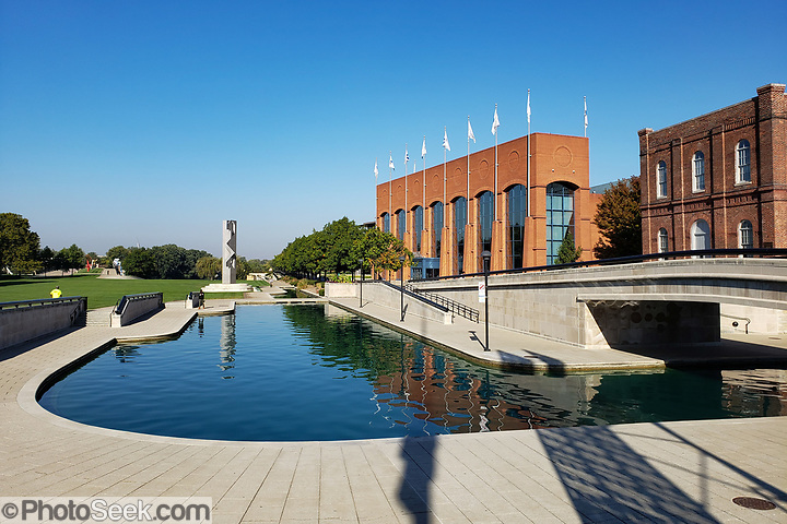 NCAA Hall of Champions, on the Indiana Central Canal, Indianapolis, Indiana, USA. (© Tom Dempsey / PhotoSeek.com)