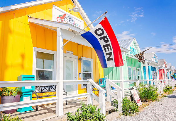 Colorful beach cottages serve as quaint shops along Highway 98, Sept. 24, 2019, in Mexico Beach, Florida. The area was heavily impacted by Hurricane Michael in 2018 and many businesses have still not rebuilt. (Photo by Carmen K. Sisson/Cloudybright) (Carmen K. Sisson/Cloudybright)