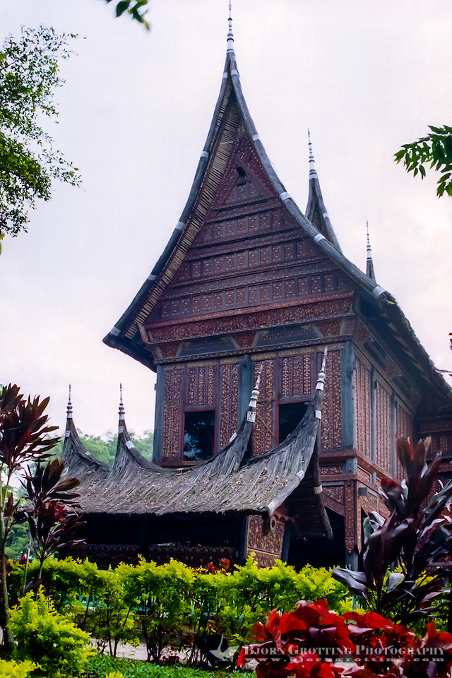West Sumatra, Bukittinggi. Rumah gadang (Minangkabau: big house with horn-like roof). Traditional Minangkabau home at the museum. (Bjorn Grotting)