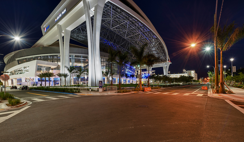 MIAMI, FL - APRIL 9: View of the new Marlins Park, construction of the stadium  was completed in March 2012, just in time for Major League Baseball Season, it features a retractable roof and seats 37,442. Taken April 9 2012. (Daniel Korzeniewski)