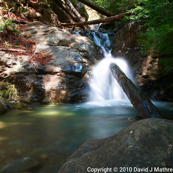 Redwood Gulch Waterfall, HDR Exercise. Initial Image taken with a Nikon D3x and 24 mm f/3.5 PC-E lens Singh-Ray filters (ISO 100, 24 mm, f/16, 10 sec). Raw image processed with Capture One Pro.. (David J Mathre)