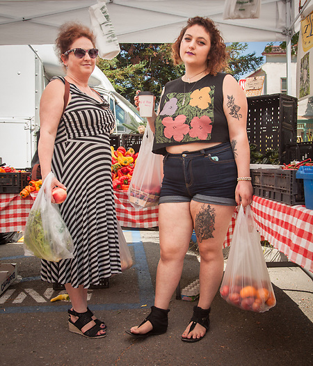 Calistoga resident and mortgage agent Marina Tolstunov and her daughter, Deana, shop at the Saturday Market. (Clark James Mishler)