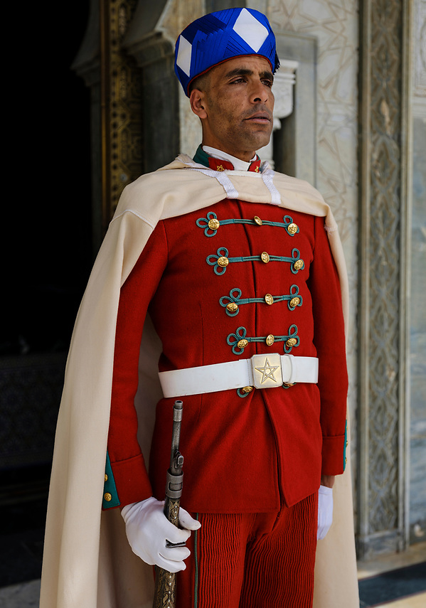 RABAT, MOROCCO - CIRCA APRIL 2017: Guard at the Mausoleum of Mohammed V in Rabat. (Daniel Korzeniewski)