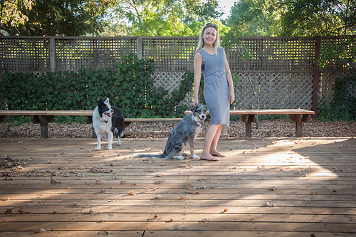 Next door neighbor and yoga instructor Urika Engman with her dog Rose and our dog, Molly. ulrika@yaga-journeys.com (© Clark James Mishler)