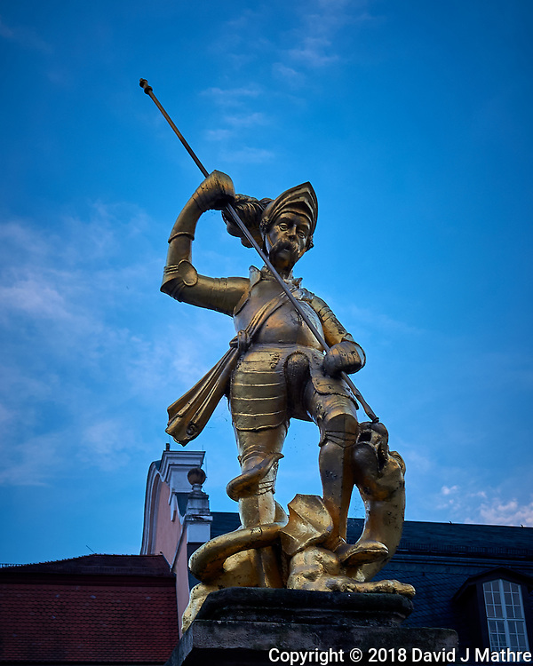 Statue of Saint George Slaying the Dragon outside the St. George's Church in Eisenach. Image taken with a Leica CL camera and 18 mm f/2.8 lens (ISO 100, 18 mm, f/4, 1/80 sec). (DAVID J MATHRE)