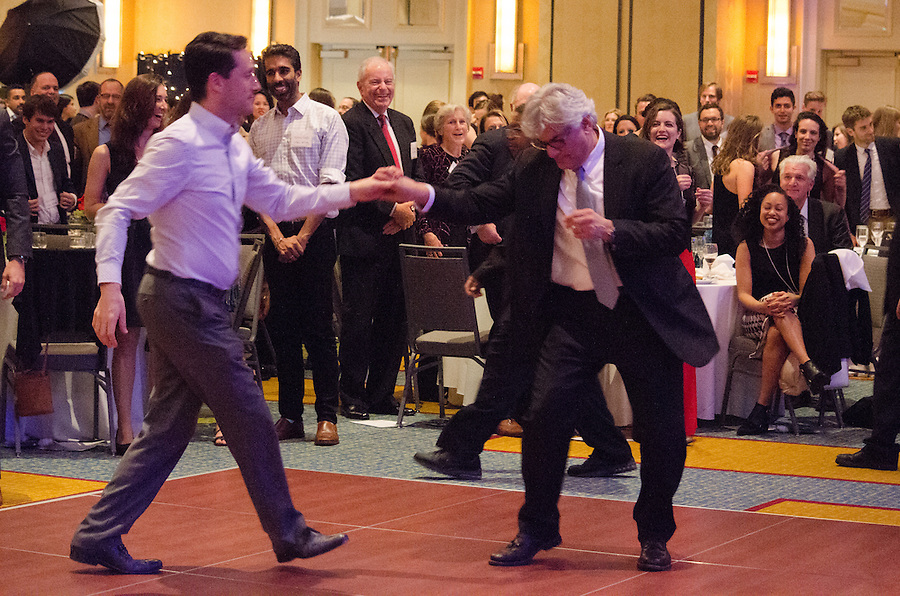 2016-05-09-Cambridge, MA-Boston Marriott Cambridge Hotel-Tufts professors, students, and alumni gather to celebrate the Institute for Global Leadership's 30th anniverary and Sherman Teichman's departure from the organization.  Sherman Teichman starts dancing at the end of his speech (Alex Knapp / The Tufts Daily). (Alex Knapp)