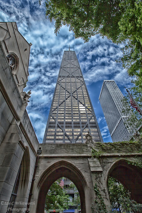 A view of the John Hancock Tower from the grounds of the Fourth Presbyterian Church in Chicago. (Ian C Whitworth)
