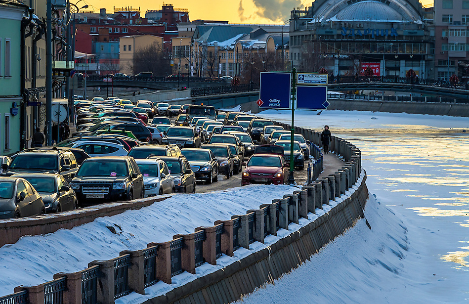 MOSCOW - CIRCA MARCH 2013: Cars in the rush hour in Moscow circa march 2013. With a population of more than 11 million people is one the largest cities in the world and a popular tourist destination. (Daniel Korzeniewski)
