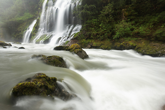 Un-named waterfalls fall into the Boulder River, Boulder River Wilderness, Mount Baker-Snoqualmie National Forest, Washington, USA (Copyright Brad Mitchell Photography.9601 Wall St.Snohomish, WA 98296.USA.425-418-7279.brad@bradmitchellphoto.com)