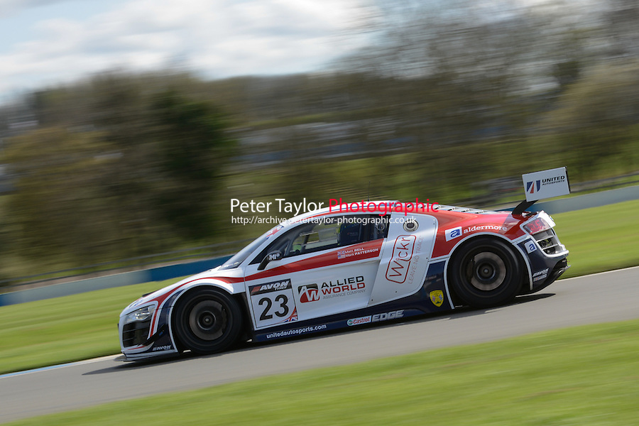 #23 Mark Patterson/Matt Bell - United Autosports, Audi R8 LMS ultra 2014 British GT Media Day. Donington Park, Derby, United Kingdom. 8th April 2014. World Copyright: Peter Taylor/PSP. Copy of publication required for printed pictures. Every used picture is fee-liable. World Copyright: Peter Taylor/PSP. Copy of publication required for printed pictures. Every used picture is fee-liable. http://archive.petertaylor-photographic.co.uk (Peter Taylor)