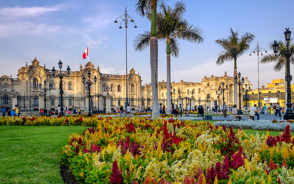 LIMA, PERU - CIRCA APRIL 2014: View of the Government Palace from the Plaza Mayor in the Lima Historic Centre in Peru (Daniel Korzeniewski)