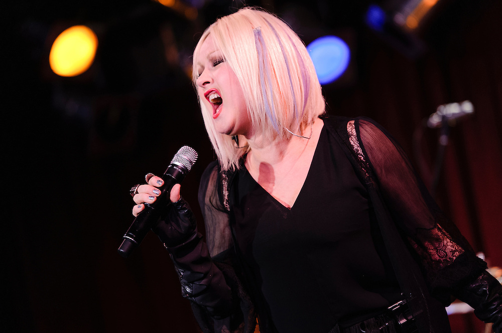 Photos of musician Cyndi Lauper performing live at B.B. King Blues Club, NYC. February 6, 2013. Copyright © 2013 Matthew Eisman. All Rights Reserved. (Photo by Matthew Eisman/WireImage)