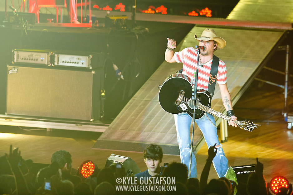 COLUMBIA, MD - July 15th, 2012 - Jason Aldean performs to a sold-out crowd at Merriweather Post Pavilion as part of his My Kinda Party Tour 2012.  (Photo by Kyle Gustafson/For The Washington Post) (Kyle Gustafson/For The Washington Post)